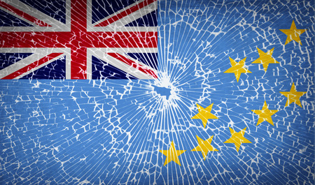 tuvalu: Flags of Tuvalu with broken glass texture. Vector illustration Illustration