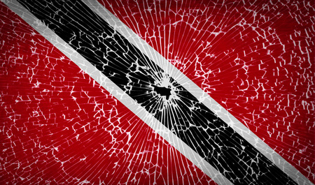 trinidadian: Flags of Trinidad and Tobago with broken glass texture. Vector illustration Illustration