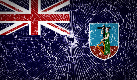montserrat: Flags of Montserrat with broken glass texture. Vector illustration