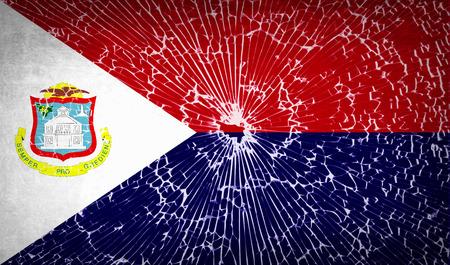 martin: Flags of Saint Martin with broken glass texture. Vector illustration Illustration