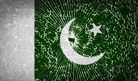 pakistani: Flags of Pakistan with broken glass texture. Vector illustration