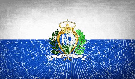 san marino: Flags of San Marino with broken glass texture. Vector illustration Illustration