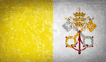 Flags of Vatican CityHoly See with broken glass texture. Vector illustration Illustration