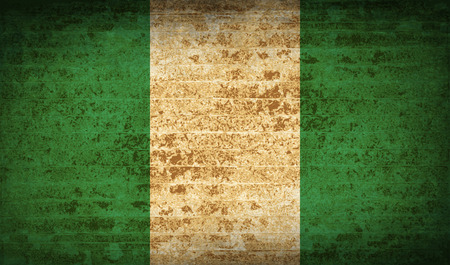 anthem: Flags of Nigeria with dirty paper texture. Vector illustration