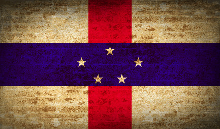 antilles: Flags of Netherlands Antilles with dirty paper texture. Vector illustration Illustration