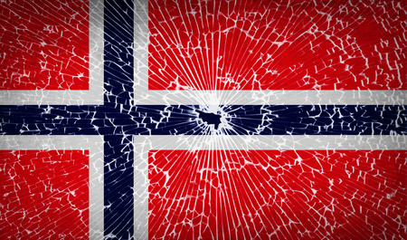 Flags of Norway with broken glass texture. Vector illustration