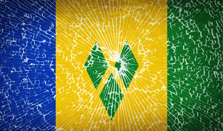 grenadines: Flags of Saint Vincent and Grenadines with broken glass texture. Vector illustration