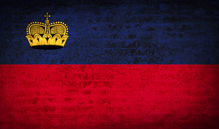 princely: Flags of Liechtenstein with dirty paper texture. Vector illustration