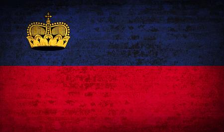 Flags of Liechtenstein with dirty paper texture. Vector illustration