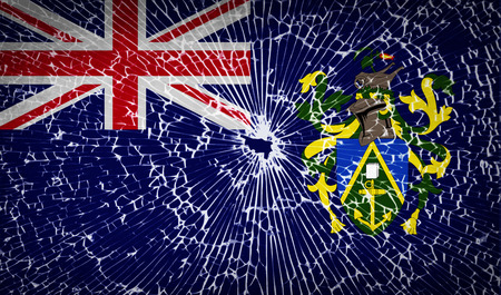 pitcairn: Flags of Pitcairn Islands with broken glass texture. Vector illustration Illustration