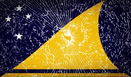 tokelau: Flags of Tokelau with broken glass texture. Vector illustration
