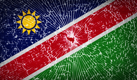 flagged: Flags of Namibia with broken glass texture. Vector illustration