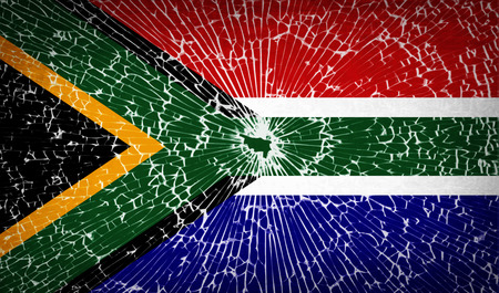 Flags of South Africa with broken glass texture. Vector illustration