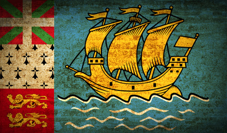 collectivity: Flags of Saint Pierre and Miquelon with dirty paper texture. Vector illustration