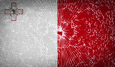 glass texture: Flags of Malta with broken glass texture. Vector illustration
