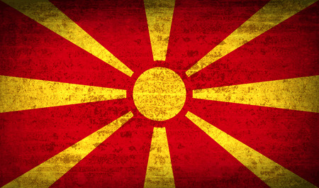 europe closeup: Flags of Macedonia with dirty paper texture. Vector illustration