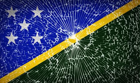 Flags of Solomon Islands with broken glass texture. Vector illustration Illustration