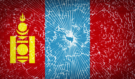 mongol: Flags of Mongolia with broken glass texture. Vector illustration