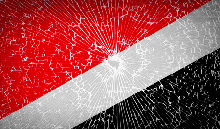 sealand: Flags of Sealand Principality with broken glass texture. Vector illustration