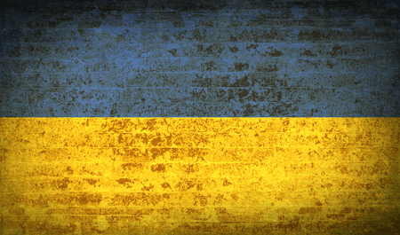 emblem of ukraine: Flags of Ukraine with dirty paper texture.  illustration. Raster copy