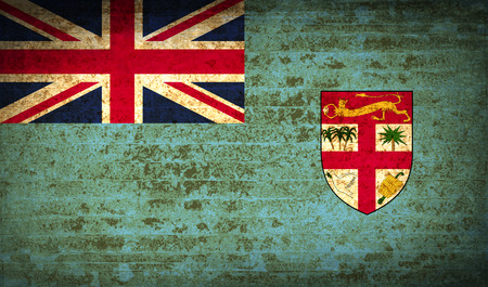 proportional: Flags of Fiji with dirty paper texture.  illustration. Raster copy Stock Photo