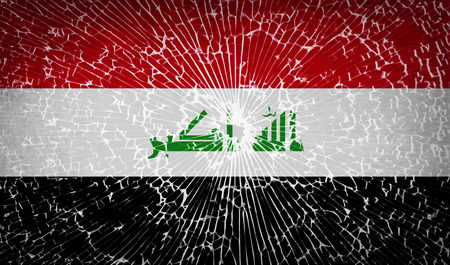 militant: Flags of Iraq with broken glass texture.  illustration. Raster copy