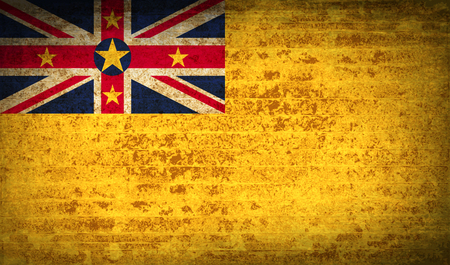 niue: Flags of Niue with dirty paper texture.  illustration. Raster copy Stock Photo