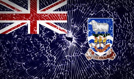 falkland: Flags of Falkland Islands with broken glass texture.  illustration. Raster copy Stock Photo