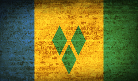 grenadines: Flags of Saint Vincent and Grenadines with dirty paper texture.  illustration. Raster copy