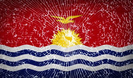 kiribati: Flags of Kiribati with broken glass texture.  illustration. Raster copy Stock Photo