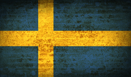 Flags of Sweden with dirty paper texture.  illustration. Raster copy