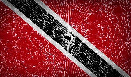 trinidadian: Flags of Trinidad and Tobago with broken glass texture.  illustration. Raster copy