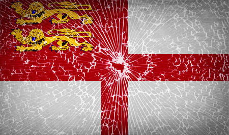 sark: Flags of Sark with broken glass texture.  illustration. Raster copy