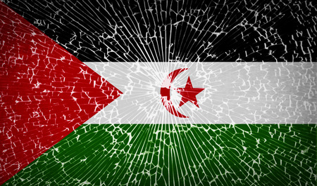 landlocked country: Flags of Western Sahara with broken glass texture.  illustration. Raster copy