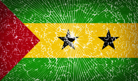 principe: Flags of Sao Tome and Principe with broken glass texture.  illustration. Raster copy