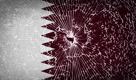 full frames: Flags of Qatar with broken glass texture.  illustration. Raster copy