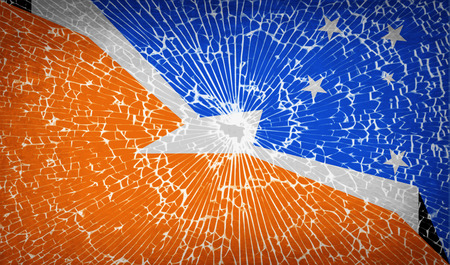 mew: Flags of Tierra del Fuego Province with broken glass texture.  illustration. Raster copy Stock Photo