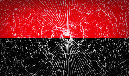 nationalists: Flags of UPA with broken glass texture.  illustration. Raster copy Stock Photo
