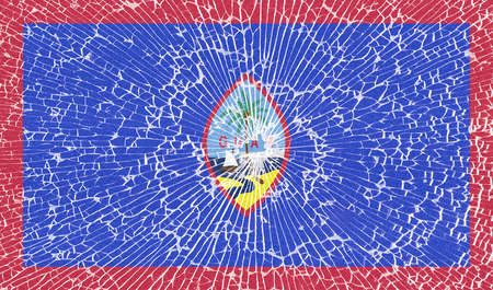 guam: Flags of Guam with the texture of broken glass. Illustration