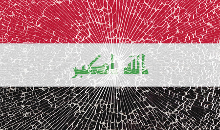 taliban: Flags of Iraq with the texture of broken glass. Illustration