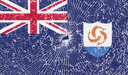 anguilla: Flags of Anguilla with the texture of broken glass. Illustration