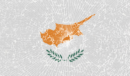 proportional: Flags of Cyprus with the texture of broken glass. Illustration