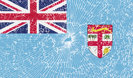 fiji: Flags of Fiji with the texture of broken glass. Illustration