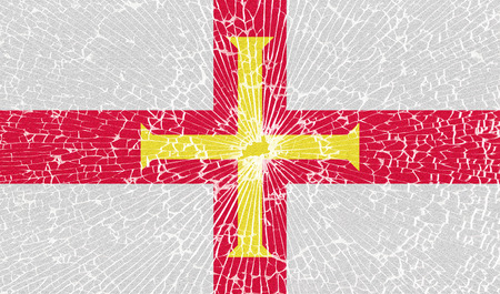 guernsey: Flags of Guernsey with the texture of broken glass. Illustration