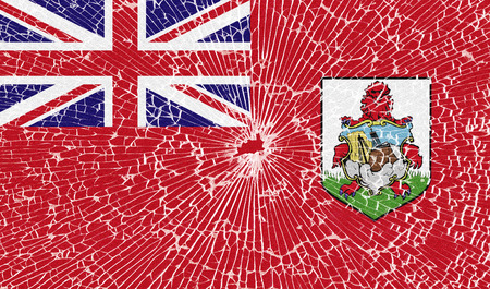 bermuda: Flags of Bermuda with the texture of broken glass. Illustration