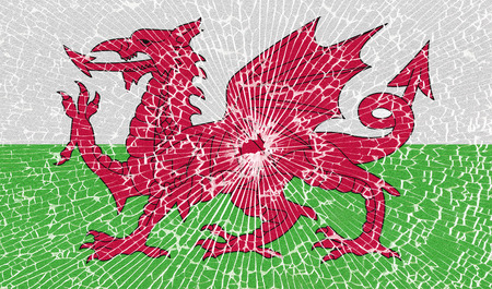 cymru: Flags of Wales with the texture of broken glass. Illustration