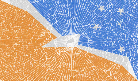 tierra: Flags of Tierra del Fuego Province with the texture of broken glass. Illustration