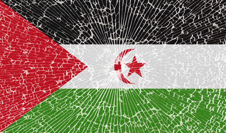 landlocked country: Flags of Western Sahara with the texture of broken glass. Illustration