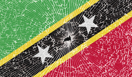 proportional: Flags of Saint Kitts and Nevis with the texture of broken glass. Illustration