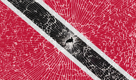 trinidadian: Flags of Trinidad and Tobago with the texture of broken glass. Illustration Stock Photo
